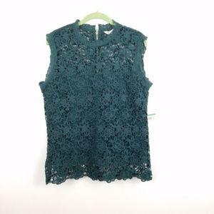 Nanette Lepore Evergreen Lace Mock Neck Top